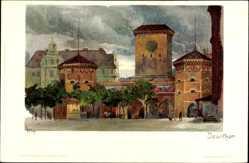 Künstler Litho Kley, Heinrich, München, Partie am Isartor