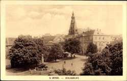 Postcard St. Wendel, Blick auf den Schlossplatz, Turm, Bäume, Denkmal