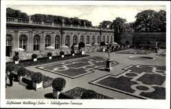 Postcard Weilburg Lahn, Luftkurort, Blick in den Schlossgarten, Terrasse, Buchsbäume