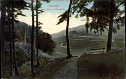 Postcard Kandern, Blick in das Kandertal, Spazierwege, Sitzbank