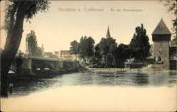 Postcard Konstanz Bodensee, Stadtansicht, Rheinbrücke, Turm, Boot