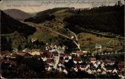Postcard Bad Teinach Zavelstein, Stadtpanorama, Häuser, Straßen, Waldhang