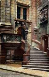 Postcard Görlitz, Freitreppe des Rathauses, Eingang, Verzierungen
