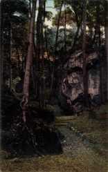 Postcard Kandern, Blick in die Wolfschlucht, Bäume, Felsmassiv, Weg