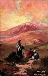 Künstler Ak Stead, A., Israel, Blick auf den Mount Hermon, Drei Pilger