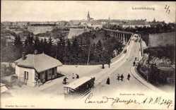 Postcard Luxemburg, Blick entlang des Boulevard du Viaduc, Pferdestraßenbahn