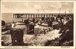 Postcard Ostseebad Wustrow Fischland, Strandleben mit Seebrücke
