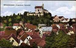 Postcard Gößweinstein im Kreis Forchheim Oberfranken, Teilansicht, Blick zur Burg