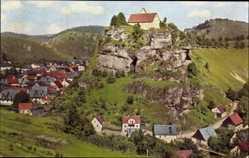 Postcard Pottenstein Oberfranken, Teilansicht des Ortes mit Schloss