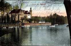 Postcard Bayreuth in Oberfranken, Partie am Röhrensee, Ruderboot, Kirche