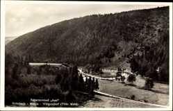 Postcard Meura in Thüringen, Schwimmbad Aue im Thüringer Wald