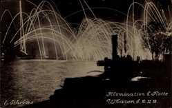 Foto Ak Wilhelmshaven in Niedersachsen, Illumination der Flotte, 10 11 1918
