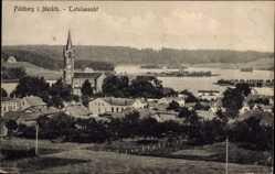 Postcard Feldberg bei Mirow, Totalansicht mit Kirche und See