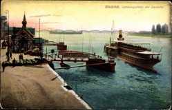 Postcard Wiesbaden Biebrich, Landungsstelle der Dampfer, Flusspartie, Dampfschiff