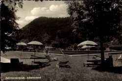 Postcard Zell am Harmersbach, Blick auf das Schwimmbad, Schwimmbecken, Sonnenschirme
