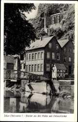 Postcard Idar Oberstein, Partie an der Nahe, Felsenkirche, Fachwerk, Brücke