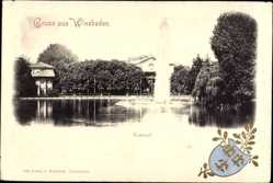 Präge Wappen Ak Wiesbaden, Blick auf den Kursaal, Springbrunnen, Gebäude