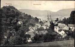 Postcard Marburg, Stadtpanorama, Ketzerbachtal, Glockentürme, Häuser