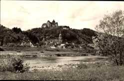 Postcard Rothenfels Main, Stadtpanorama, Burg, Glockenturm, Flusspartie
