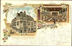 Litho Dortmund, Blick auf das evangelische Bürgerhaus, Hospiz, Festsaal