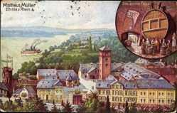 Künstler Ak Rothgeb, Eltville, Gasthof das große Fass, Blick auf den Ort