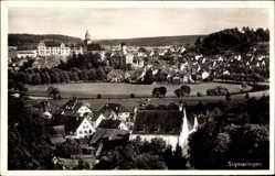 Postcard Sigmaringen, Stadtpanorama, Glockenturm, Wiese, Bäume