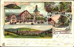 Litho Lauenstein Salzhemmendorf, Burgruine, Garten, Panorama