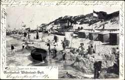 Postcard Westerland auf Sylt, Strandpartie nach Norden, Boot, Fahnen