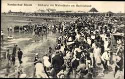 Postcard Büsum im Kreis Dithmarschen, Rückkehr der Wattenläufer am Herrenstrand