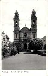 Postcard Eberbach im Rhein Neckar Kreis, Blick auf katholische Kirche