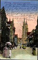 Postcard Nürnberg, Königstraße, St. Lorenzkirche, Straßenbahn