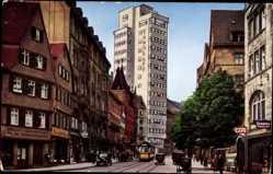 Postcard Stuttgart, Blick in die Eberhardstraße mit Tagblatt Turmhaus, Straßenbahn