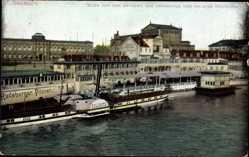 Postcard Dresden, Zwinger, Opernhaus und Helbigs Restaurant, Elbdampfer Pillnitz