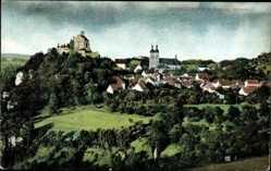 Postcard Gößweinstein Oberfranken, Gesamtansicht des Ortes mit Burg