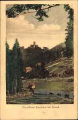 Postcard Bad Teinach Zavelstein, Blick auf die Burgruine, Felder, Waldhang