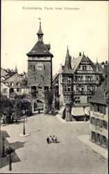 Postcard Konstanz, Partie am Schnetztor, Platz, Laterne, Turm, Passanten