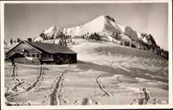 Postcard Rettenberg bayrische Allgäu, Grüntenalm, Winteraufnahme, Hütte, Grünten