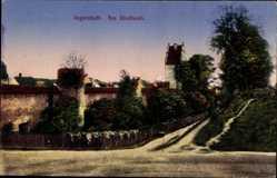 Postcard Ingolstadt an der Donau Oberbayern, Partie am Stadtwall, Turm, Straßen