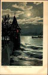 Künstler Litho Diemer, Zeno, Lindau im Bodensee Schwaben, Mondnacht, Pulverturm