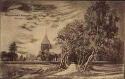 Postcard Prerow Darß Ostsee, Ostseebad, Kirche, Feldweg
