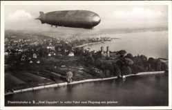 Postcard Friedrichshafen am Bodensee, Graf Zeppelin in voller Fahrt, LZ 127