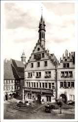 Postcard Weinheim an der Bergstraße Baden, Das alte Rathaus mit Brunnen