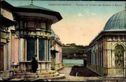Postcard Konstantinopel Istanbul Türkei, Fontaine et Turbes des Sultans à Eyoub