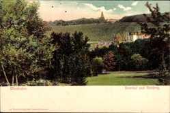 Postcard Wiesbaden, Blick in das Nerotal, Neroberg, Stadtansicht, Wald