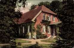 Postcard Stollhamm Butjadingen, Pastorei, Garten, Damen, Treppe, Gebäude