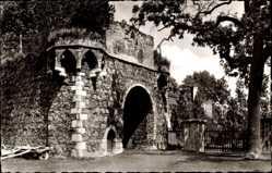 Postcard Zons Dormagen Niederrhein, Blick auf die Schlossruine, Tor, Zaun