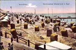 Postcard Westerland Insel Sylt, Partie am Strand, Nordsee, Strandkörbe