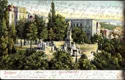 Postcard Stuttgart in Baden Württemberg, Blick auf den Eugensbrunnen, Wohnhäuser