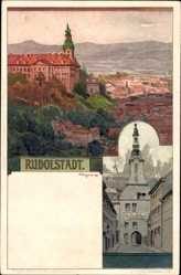 Künstler Litho A. Stagura, Rudolstadt Rhüringen, Stadtansicht, Ratskeller