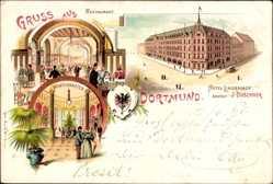 Litho Dortmund im Ruhrgebiet, Hotel Lindenhof, Inh. J. Duschner, Wintergarten